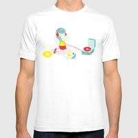 Vinyl Mens Fitted Tee White SMALL