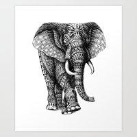 elephant Art Prints featuring Ornate Elephant v.2 by BIOWORKZ