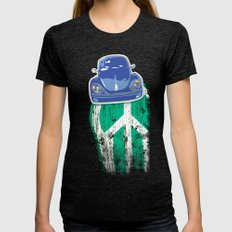 Blue On Green Womens Fitted Tee Tri-Black SMALL