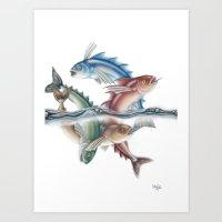 INKYFISH - Jumping Fish Art Print