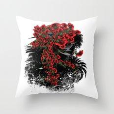 Rose Sugar Skull Girl 2 Throw Pillow