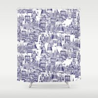 Doctor Who Toile de Jouy | 'Walking Doodle' | Blue Shower Curtain