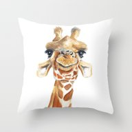 Throw Pillow featuring Giraffe  by Tussock Studio