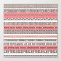 Aztec Print Peach Rose Salmon Grey Canvas Print
