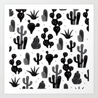 Cactus garden black and white Art Print