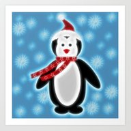 Happy Christmas Penguine Art Print