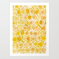 Golden Honeycomb Art Print