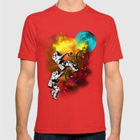 CYCLE TO THE MOON Mens Fitted Tee Red SMALL