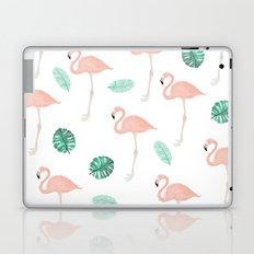 Hand painted pastel  pink flamingo tropical leaf watercolor pattern Laptop & iPad Skin