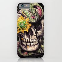 iPhone Cases featuring Snake and Skull by nicebleed