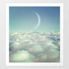 Dream Above The Clouds (Crescent Moon) Art Print
