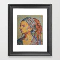 Woman In Pastel Framed Art Print