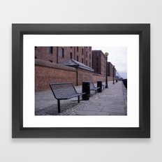 a row of benches Framed Art Print
