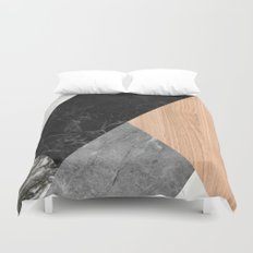 Marble and Wood Abstract Duvet Cover