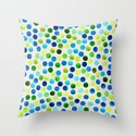 Watercolor Dots_Aqua by Jacqueline and Garima Throw Pillow