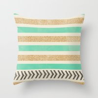 MINT AND GOLD STRIPES AN… Throw Pillow
