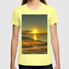 A Titicaca Sunset Womens Fitted Tee Lemon SMALL