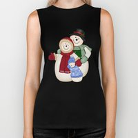 Snowman and Family Glittered Biker Tank