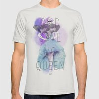 God Save McQueen Mens Fitted Tee Silver SMALL