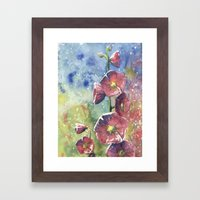 Hollyhocks - Pink Flower… Framed Art Print