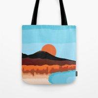 Landscape of Naples with volcano Vesuvio Tote Bag