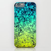 iPhone & iPod Case featuring OMBRE LOVE Bold Beautiful Starry Night Glitter Abstract Painting Midnight Blue Mint Turquoise Yellow by EbiEmporium