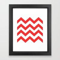 Red Chevron Lines Framed Art Print