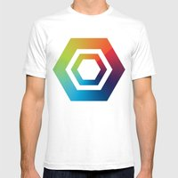 Hexagons Mens Fitted Tee White SMALL