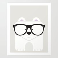 Hipster Polar Bear Art P… Art Print