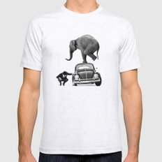 Looking for Tiny, Elephant on a VW beetle Mens Fitted Tee Ash Grey SMALL