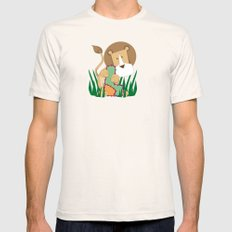 L is for Lion.. Mens Fitted Tee Natural SMALL