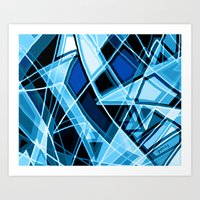 Blue Stained Glass Art Print