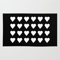 16 Hearts White On Black Rug