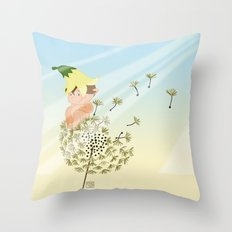 Resting on a dandelion Throw Pillow
