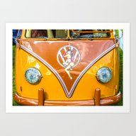 Pin Up VW Microbus Vinta… Art Print
