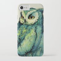 face iPhone & iPod Cases featuring Green Owl by Teagan White