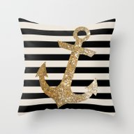 GOLD GLITTER ANCHOR IN B… Throw Pillow