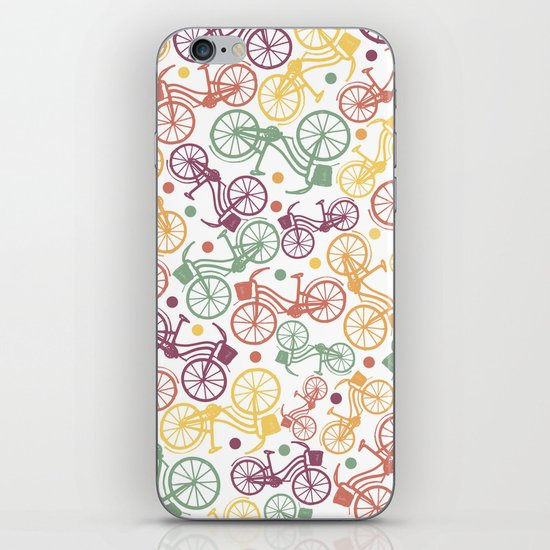 Whimsical bicycle pattern & retro polka dots iPhone & iPod Skin