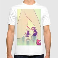 Girl With Gun 2 Mens Fitted Tee White SMALL