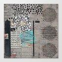 Grey Teal Abstract Art  Canvas Print