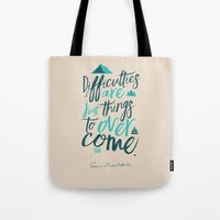 Shackleton Quote on Difficulties - Illustration Tote Bag