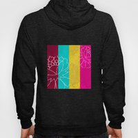 Chinese Flowers & Stripes - Pink Yellow Cyan Red Hoody