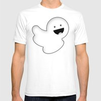 Floaty Ghosty Mens Fitted Tee White SMALL