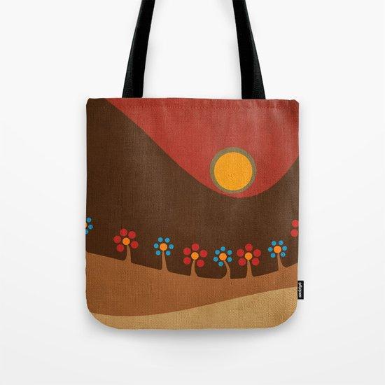 Circular landscape & flowers Tote Bag