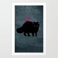 Cat and bird friends! Art Print