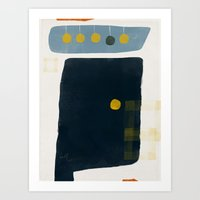 Navy Mono Form with Buds and Repeating Tape Art Print