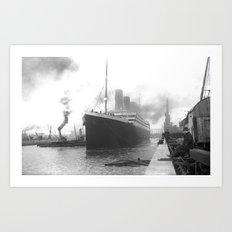 Titanic at the docks of Southampton Art Print