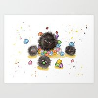 Hungry Soot Sprites  Art Print
