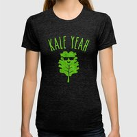 KALE YEAH Womens Fitted Tee Tri-Black SMALL