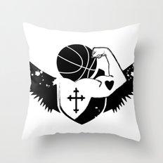 Faith Strength Heart Basketball Throw Pillow